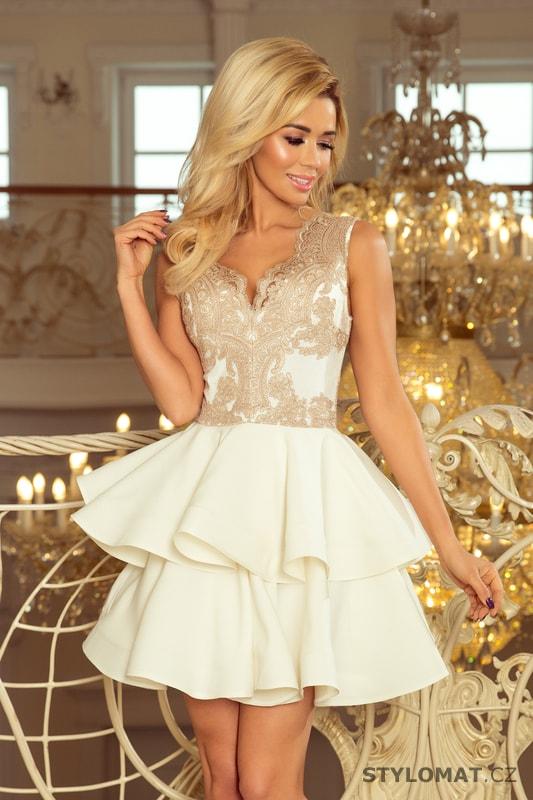 Exkluzivní šaty s krajkovým výstřihem zlaté - Numoco - Krátké společenské  šaty 5fa53565b24