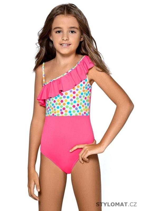 Dívčí jednodílné plavky Anetka růžové - Lorin - Dětské plavky 59918957fb