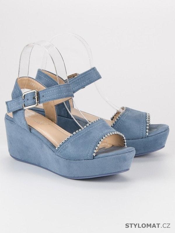 1dc2f0b5f06a Semišové sandály na klínu modré - SUPER MODE - Sandále