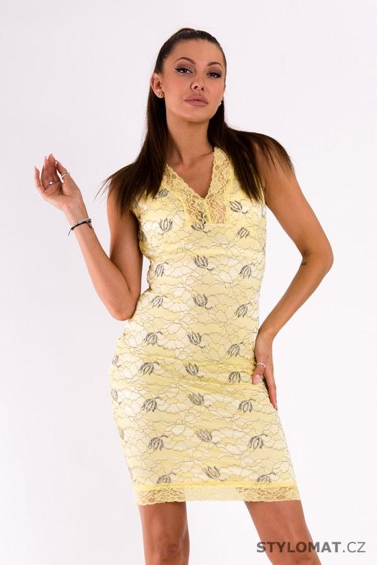 Žluté šaty pokryté krajkou - Emamoda - Krátké letní šaty cc5e550502