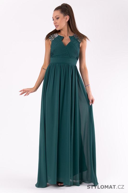 781e1a084ba Krásné tmavě zelené šaty s dlouhou sukní - Pink BOOm - Dlouhé společenské  šaty