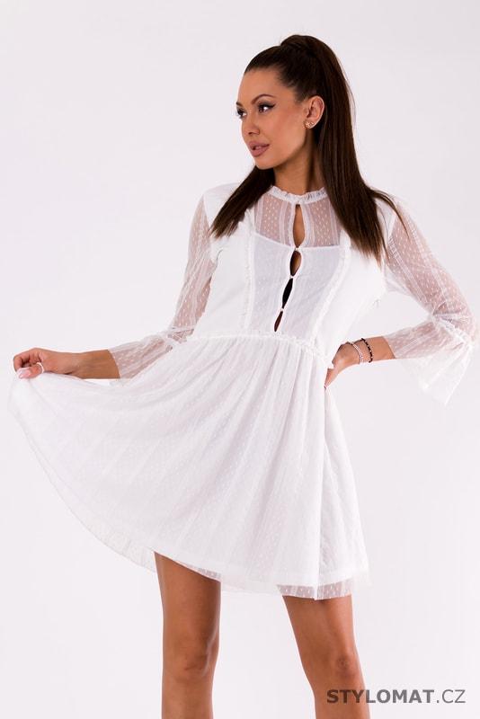 Bílé party šaty s krajkou a 3 4 rukávem - Soky Soka - Krátké letní šaty c479b690ad