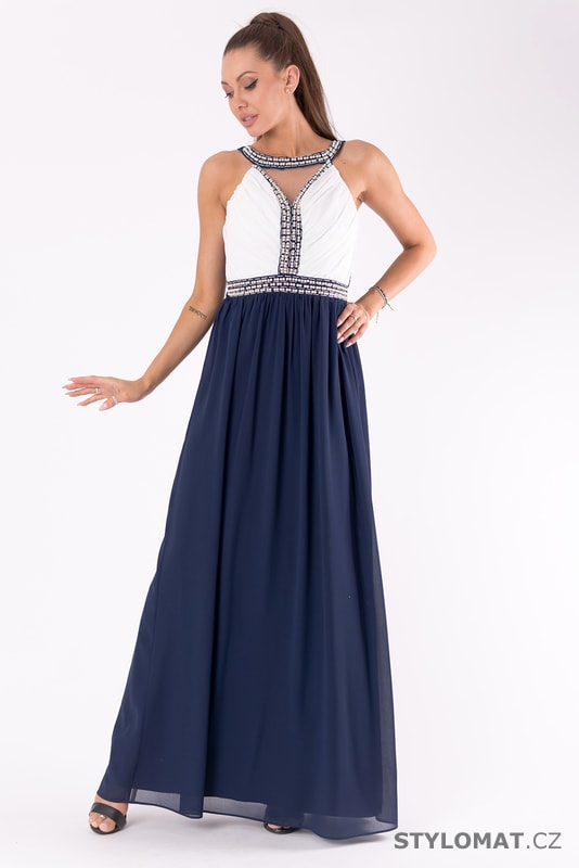 Bílé šaty s dlouhou tmavě modrou sukní - Eva Lola - Dlouhé ... 4595ca246c