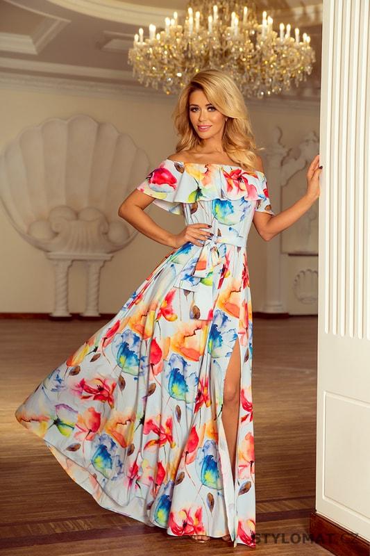 Dlouhé šaty se zajímavým výstřihem s potiskem barevných malovaných květin -  Numoco - Dlouhé letní šaty 003b008cd23