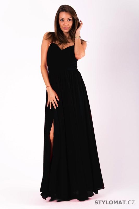 Dlouhé plesové jednoduché šaty černé 2c6a002749