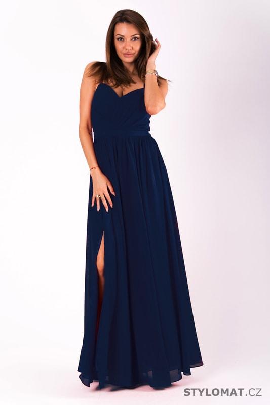 Dlouhé plesové jednoduché šaty tmavě modré - Eva Lola - Dlouhé ... 5dae14ea04e