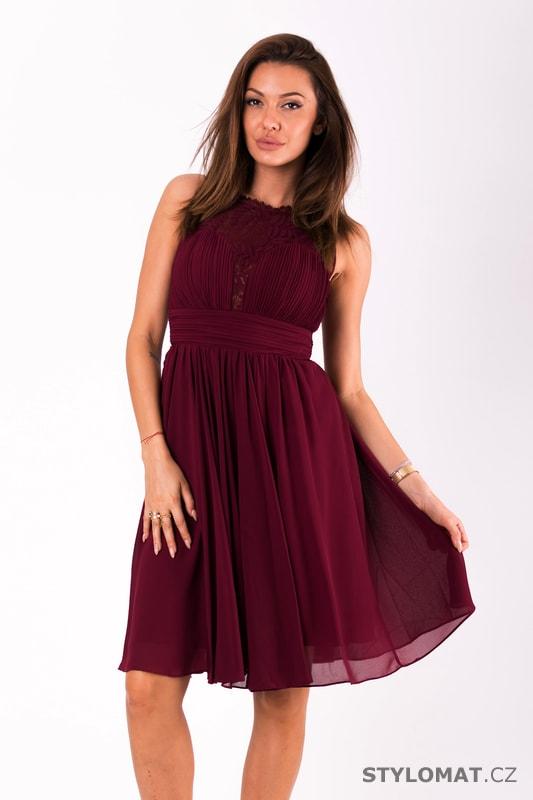 Krátké vypasované šaty bordó - Eva Lola - Krátké společenské šaty 2c1eaa02d42