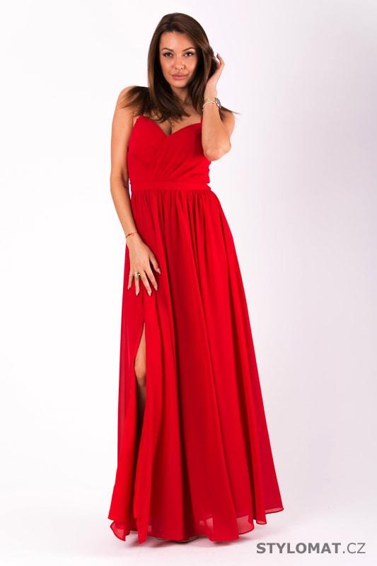 9030711272a Dlouhé plesové jednoduché šaty červené - Eva Lola - Dlouhé ...