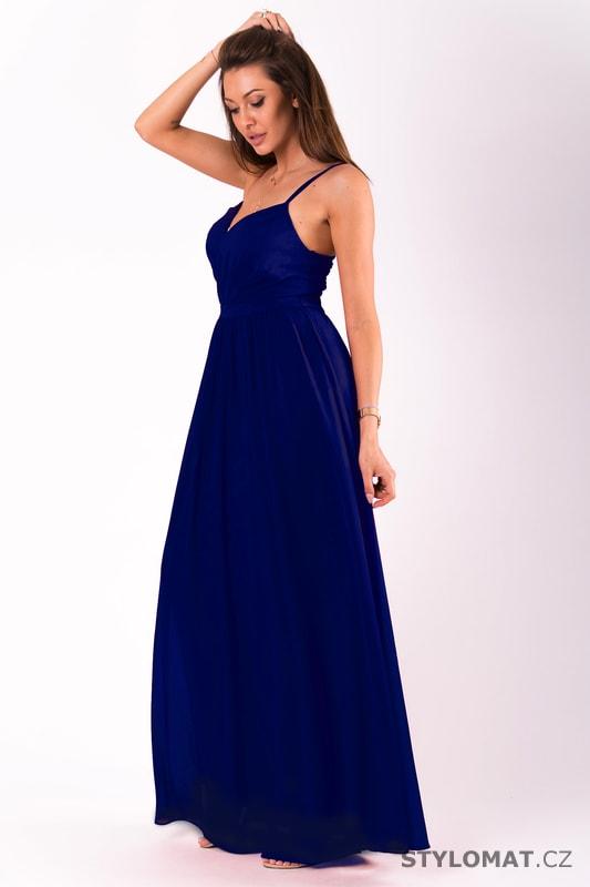 a36c63df920 Dlouhé plesové jednoduché šaty modré - Eva Lola - Dlouhé společenské šaty