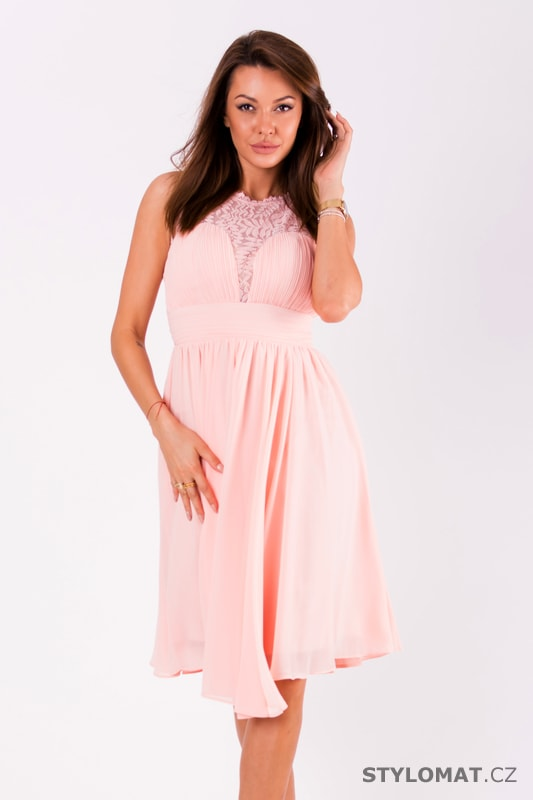 Krátké vypasované šaty růžové - Eva Lola - Krátké společenské šaty cc68137a8cf