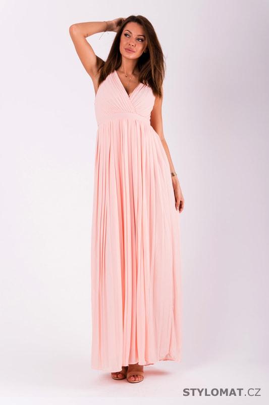 Dlouhé plisované šaty růžové - Eva Lola - Dlouhé společenské šaty ef2a2f75ad6
