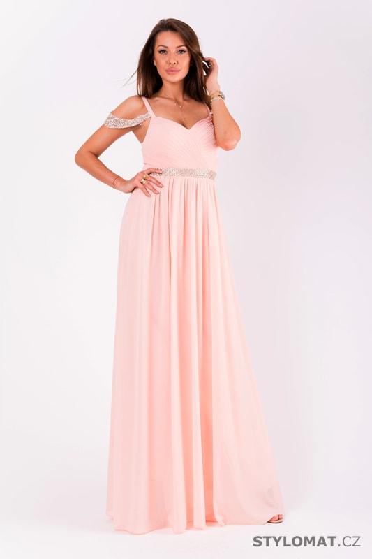 6a0cb3ed121 Růžové večerní šaty se spadlými rameny - Eva Lola - Dlouhé ...