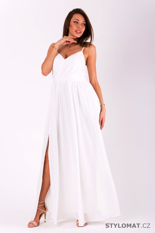 394e49e8604 Dlouhé plesové jednoduché šaty bílé - Eva Lola - Dlouhé společenské šaty