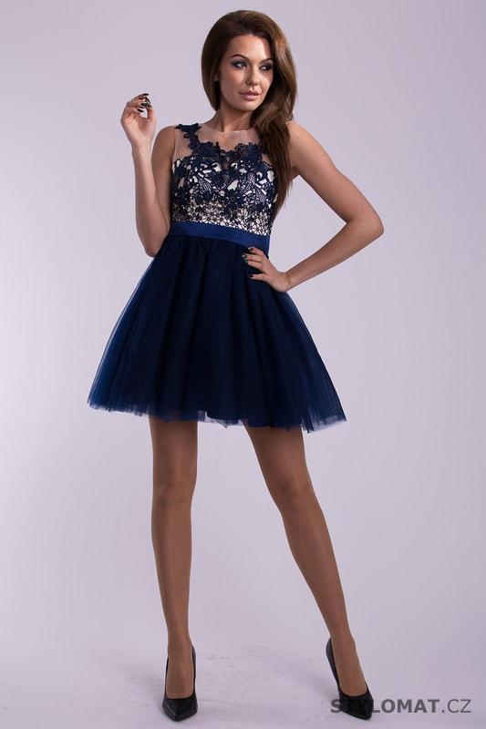ee8c98f7f25 Modré plesové šaty s šifonovou sukní - Emamoda - Krátké společenské šaty