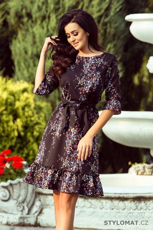 Romantické dámské šaty s volánky černé s barevnými květy - Numoco - Krátké společenské  šaty fbae0a280d