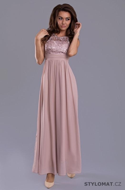 Elegantní dlouhé plesové šaty starorůžové 2ed50a7d3d