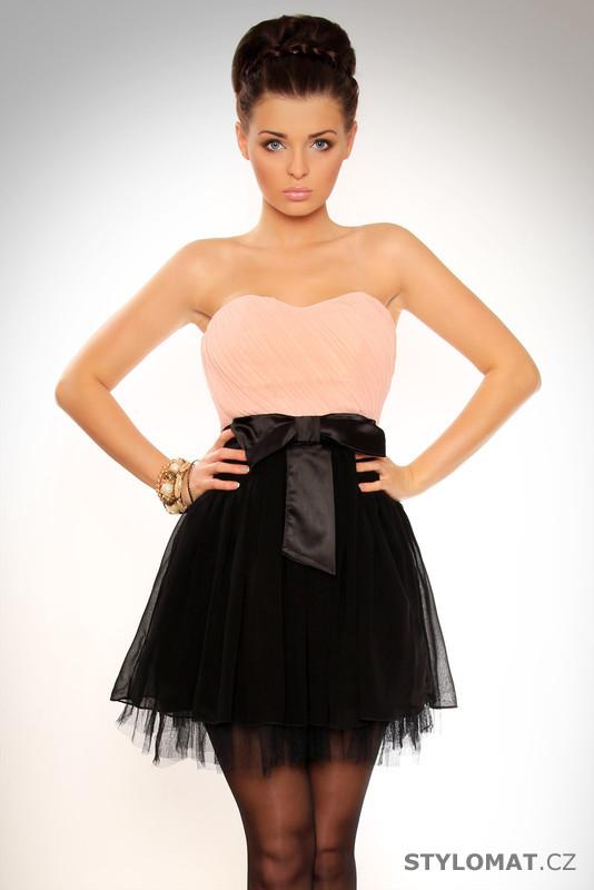 Dámské elegantní černo-růžové krátké tylové šaty s mašlí - Drole le Copine  - Party a koktejlové šaty bfcacd2f93c