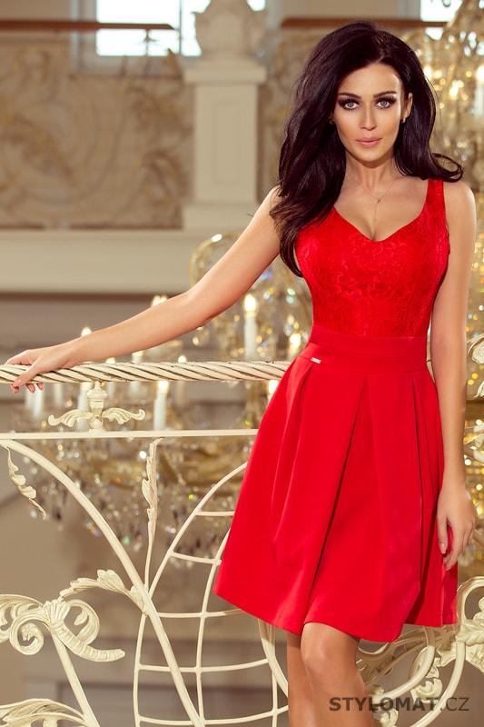 Červené plesové šaty s krajkovým výstřihem - Numoco - Krátké společenské  šaty 9aa47674ef