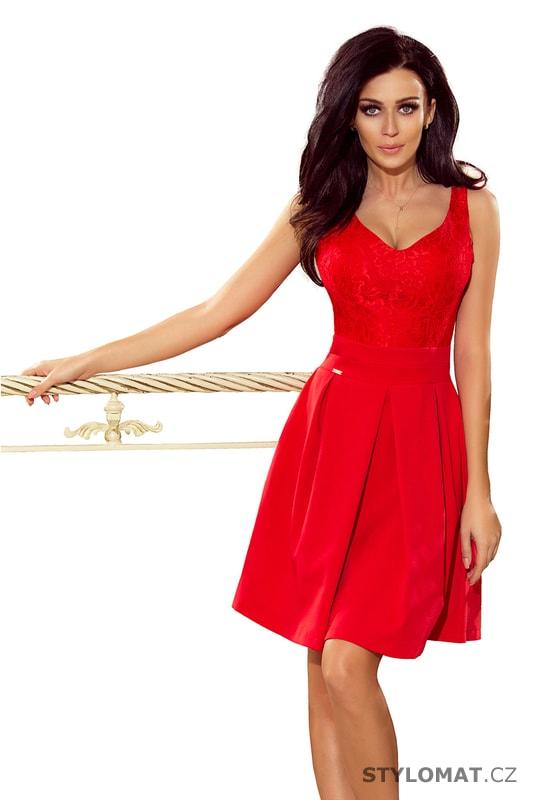 Červené plesové šaty s krajkovým výstřihem - Numoco - Krátké ... a225bcf89d