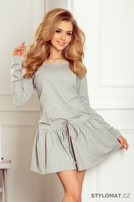 9d1b43661bc Sportovní šaty s dlouhými rukávy a kapsami šedé - Numoco - Jarní šaty