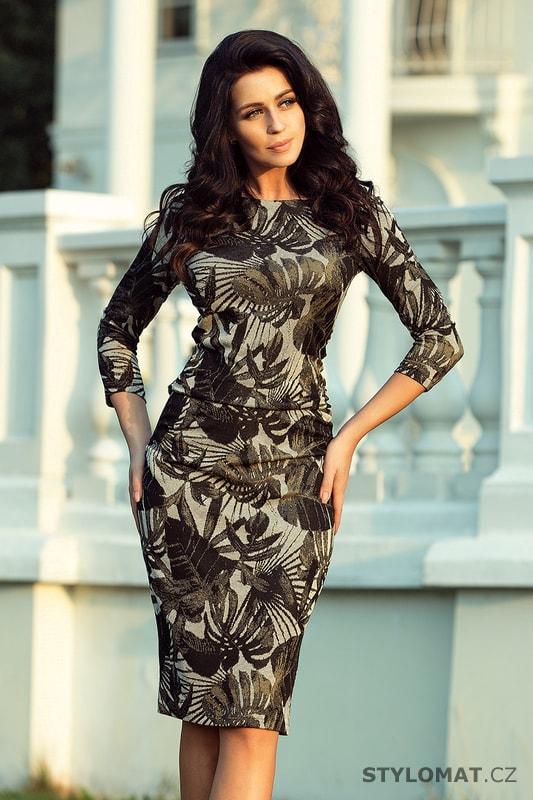 Elegantní úpletové šaty khaki s lístky - Numoco - Jarní šaty a15114a1afb