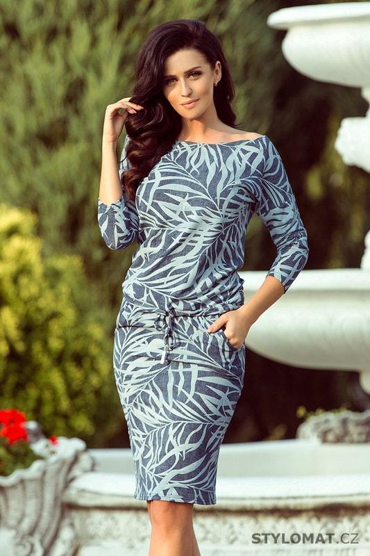Pohodlné podzimní šaty modré s listy - Numoco - Jarní šaty edc3e77a98