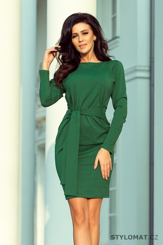 Dámské zelené šaty s výrazným páskem - Numoco - Jarní šaty 7ed605f504