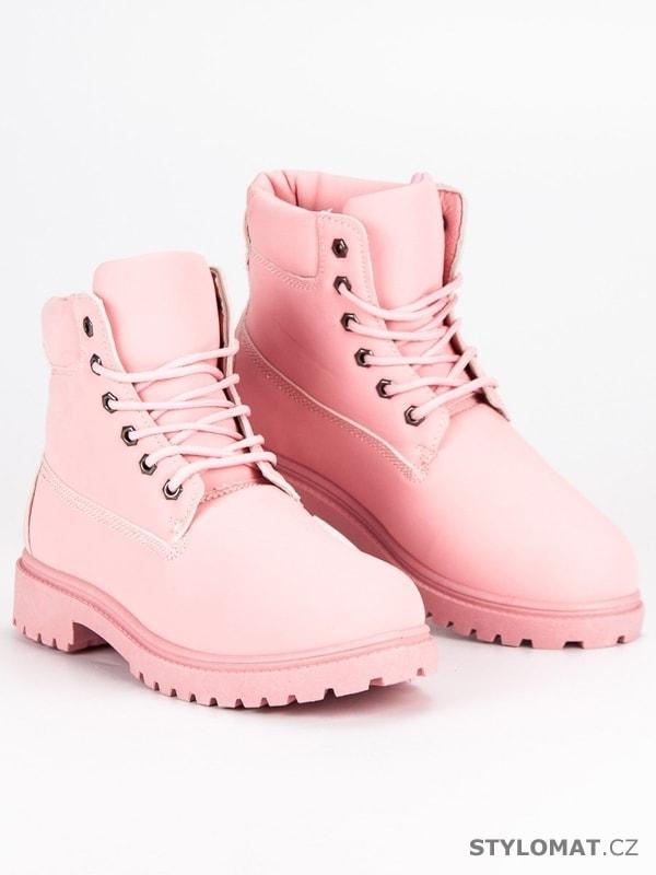 Růžové dámské traperky - LEMAX - Workery d8b32443f7