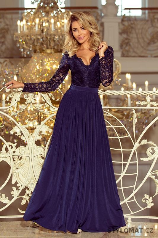 c0e0056414e Exklusivní plesové šaty s krajkou tmavě modré - Numoco - Dlouhé společenské  šaty