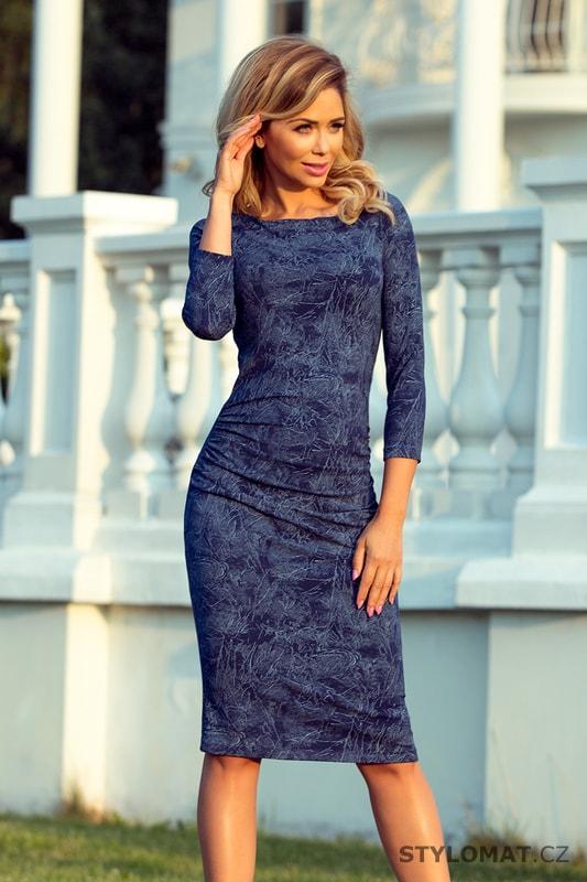 Úpletové podzimní šaty v denimové barvě - Numoco - Jarní šaty 4aed3b4e50