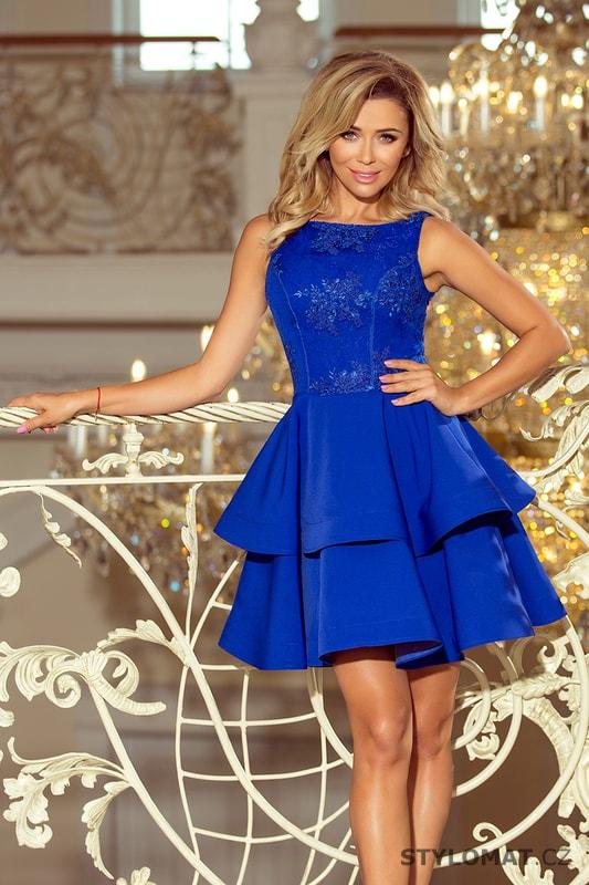 Společenské modré šaty s vyšíváním a výraznou sukní - Numoco - Krátké společenské  šaty dc0a7701e5