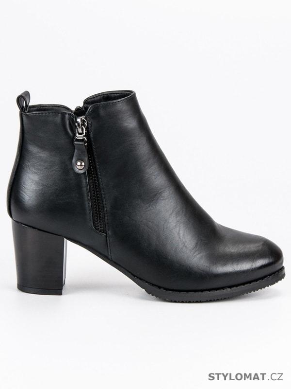 Klasické botky na podpatku černé - J. STAR - Kotníčkové boty 7a23e7b3ac