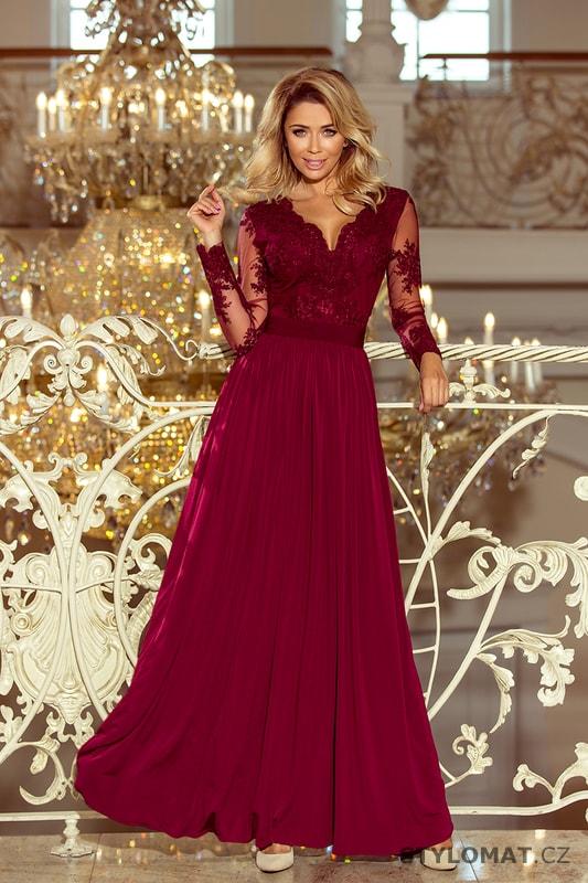 4c3200918ad Vínové maxi šaty s vyšívaným výstřihem a dlouhými rukávy - Numoco - Dlouhé  společenské šaty