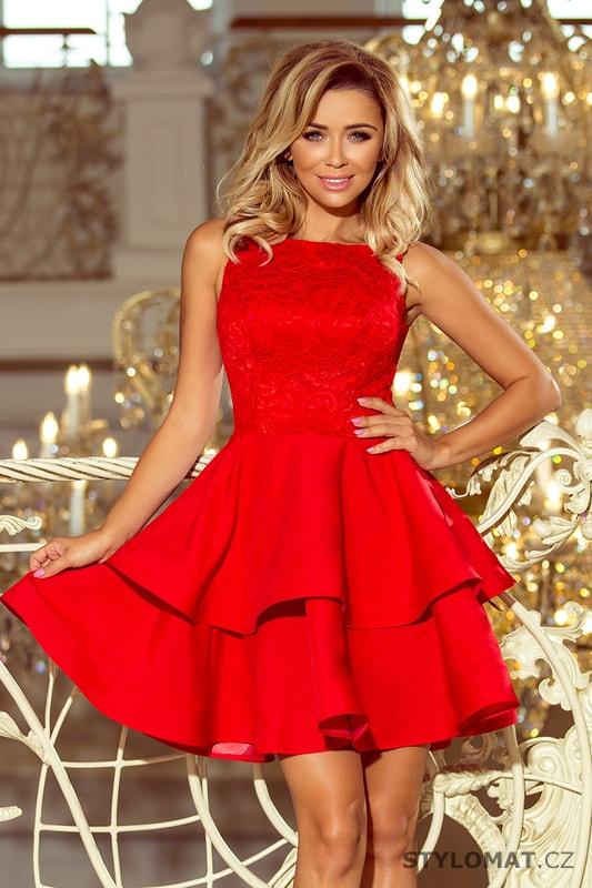 Červené krajkové šaty s dvojitou sukní - Numoco - Krátké společenské šaty c5e73f1c27