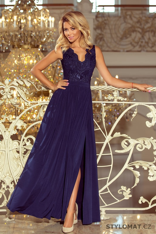 Maxi šaty bez rukávů s vyšívaným výstřihem tmavě modré - Numoco - Dlouhé společenské  šaty b776576822