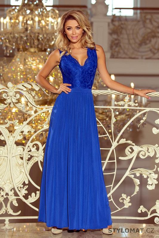 c6e752b6915 Modré maxi šaty bez rukávů s krajkovým výstřihem - Numoco - Dlouhé  společenské šaty