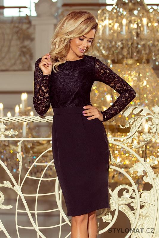 ad519bce101 Elegantní černé šaty s krajkou - Numoco - Krátké společenské šaty