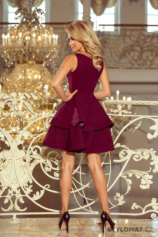 Bordó šaty se širokou sukní - Numoco - Krátké společenské šaty 7bfc524963