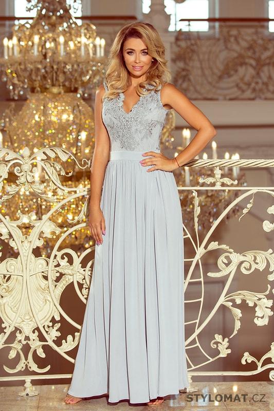 9b3373fadff Dlouhé šaty s vyšívaným dekoltem šedostříbrné - Numoco - Dlouhé společenské  šaty
