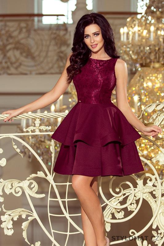 Krajkové šaty bordó - Numoco - Krátké společenské šaty 0489683b3a