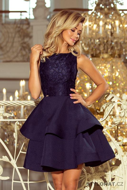 Krajkové šaty tmavě modré - Numoco - Krátké společenské šaty 0413b64e8f