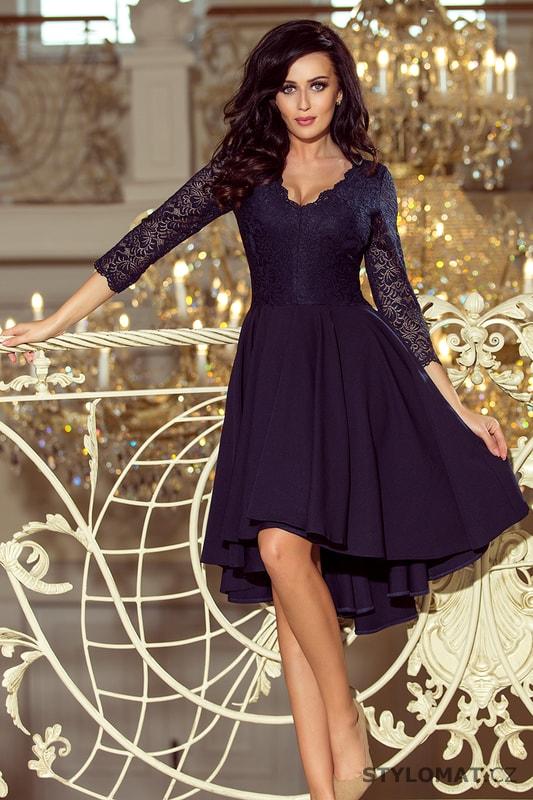 Šaty s asymetrickou sukní a krajkovým topem modré - Numoco - Krátké  společenské šaty 4f232cfc79