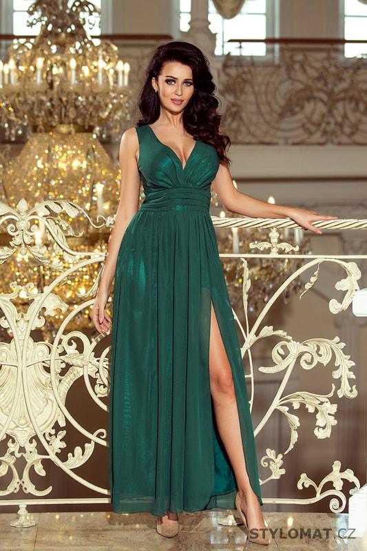 4e8ebc3cecc Maxi šifonové šaty s rozparkem zelené - Numoco - Dlouhé společenské šaty