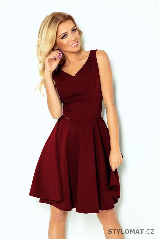 Šaty s výstřihem ve tvaru srdce bordó - Numoco - Krátké společenské šaty 3e566025dc