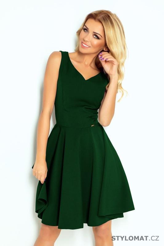 Šaty s výstřihem ve tvaru srdce lahvově zelené - Numoco - Krátké  společenské šaty 3afa112b0e