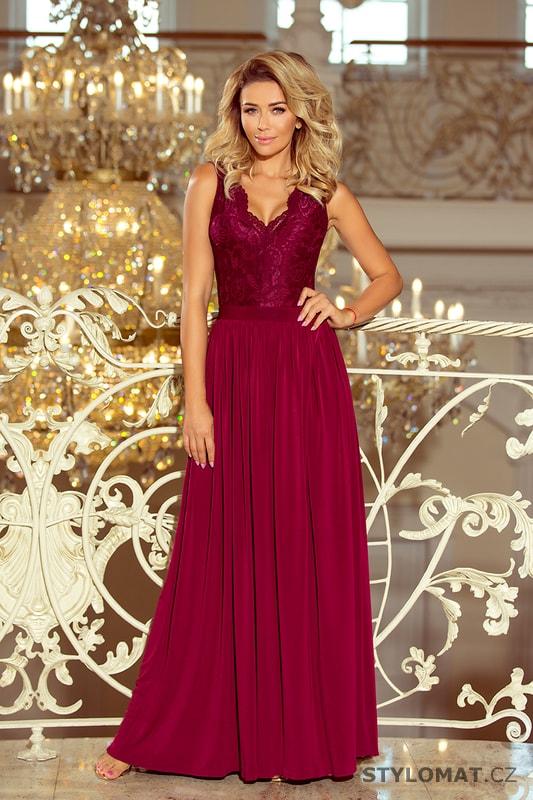 Dlouhé šaty bez rukávů s krajkovým topem bordó - Numoco - Dlouhé  společenské šaty b13e3b60a57