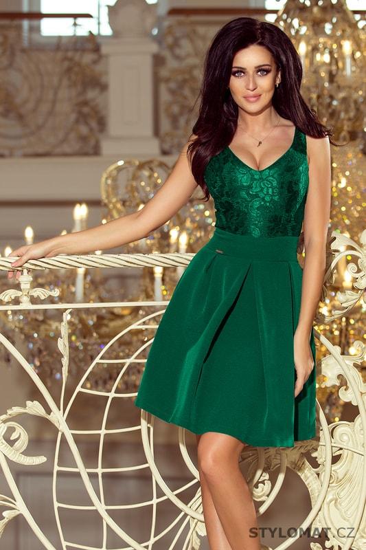Šaty s krajkovým výstřihem v lahvově zelené - Numoco - Krátké společenské  šaty 09e80354fb1