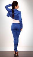 Módní modré kalhoty s páskem - vel.S