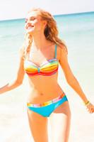 Dámské dvoudílné plavky oranžovo-tyrkysové