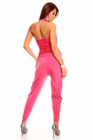Dámský růžový kalhotový overal s vodopádem a krajkou